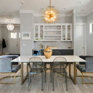 Inspiration For A Mid Sized Transitional Beige Floor Dining Room Remodel In Orlando With Gray
