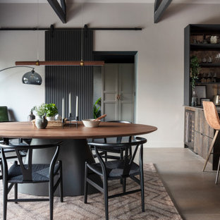 This is an example of a large contemporary kitchen/dining room in Other with beige walls, porcelain flooring, no fireplace and grey floors.