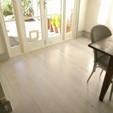 Oak Engineered Boards Installation, custom finished with white oil, Southfields