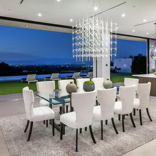 Kitchen/dining room combo - contemporary gray floor kitchen/dining room combo idea in Los Angeles