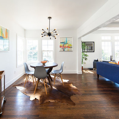 Great room - transitional dark wood floor and brown floor great room idea in San Francisco with white walls
