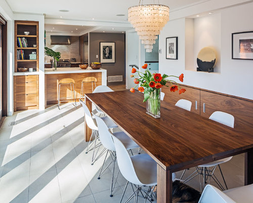 Trendy Kitchen Dining Room Combo Photo In Toronto With White Walls