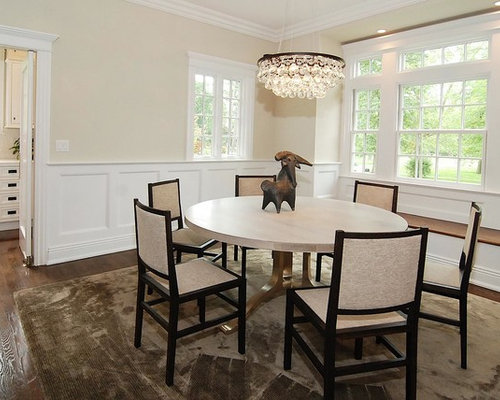 Eclectic Dining Room Photo In New York With Beige Walls And Dark Wood Floors