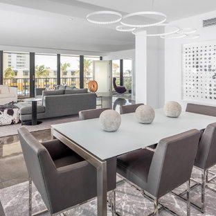 Great Room Contemporary Marble Floor And Gray Idea In Miami With White