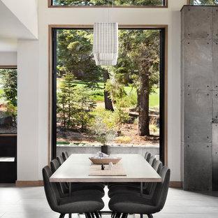 Inspiration pour une grande salle à manger design avec un mur blanc, un sol en carrelage de porcelaine et aucune cheminée.