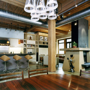 Example of a trendy concrete floor dining room design in Philadelphia with white walls