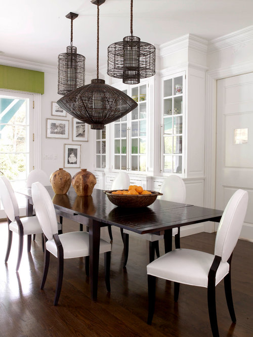 Example Of A Transitional Kitchen/dining Room Combo Design In New York With  White Walls