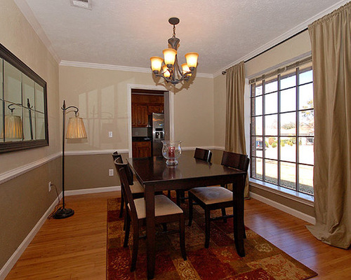 modren dining room colors with chair rail gallery and pendant on