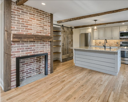 Old Mill Thin Brick Fireplace Surround And Kitchen