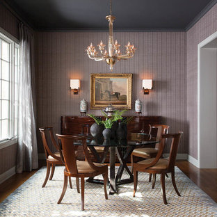 Design ideas for a traditional enclosed dining room in Austin with purple walls, medium hardwood flooring and no fireplace.