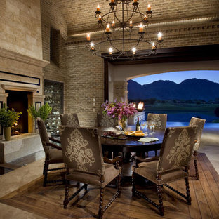 Old-World Brick Dining Room and Fireplace