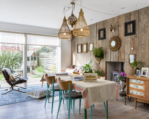 Shabby Chic Style Open Plan Dining Room In Sussex With Brown Walls, Light  Hardwood