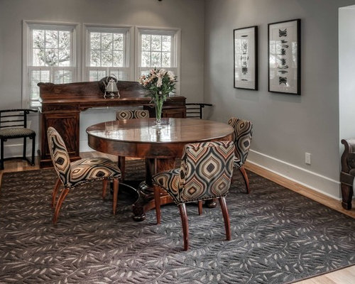Inspiration For A Mid Sized Timeless Medium Tone Wood Floor And Beige Enclosed Dining
