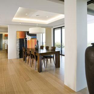 Foto di una sala da pranzo aperta verso la cucina minimal di medie dimensioni con pavimento in bambù e pareti bianche