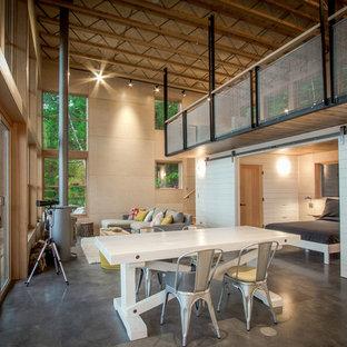 На фото: с высоким бюджетом гостиные-столовые среднего размера в стиле лофт с бежевыми стенами, бетонным полом, подвесным камином, фасадом камина из металла и серым полом