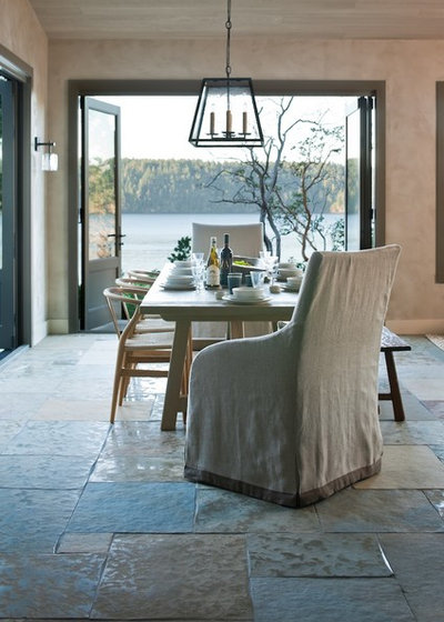 Transitional Dining Room By Stoner Architects Pros Of Stone Flooring