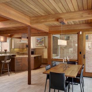 デトロイトの中サイズのミッドセンチュリースタイルのおしゃれなLDK (セラミックタイルの床、両方向型暖炉、レンガの暖炉まわり) の写真