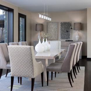 Trendy dark wood floor and brown floor dining room photo in Detroit with gray walls