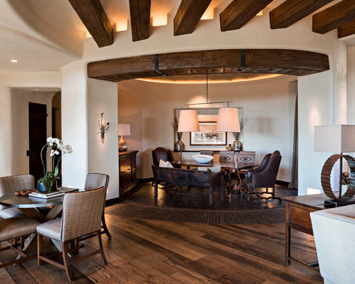 Example Of A Mid Sized Southwest Dark Wood Floor And Brown Floor Great Room  Design
