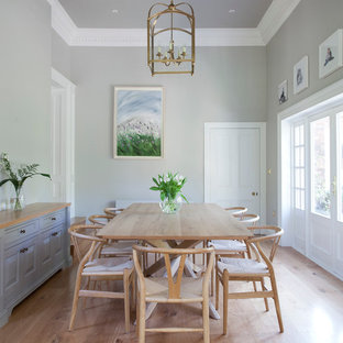 Design ideas for a beach style enclosed dining room in Dublin with grey walls and light hardwood flooring.