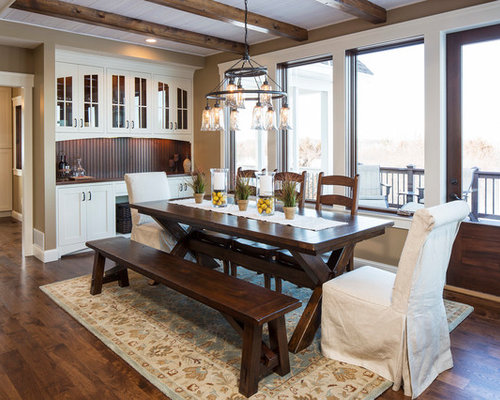 Great Traditional Dark Wood Floor Dining Room Idea In Minneapolis With Brown Walls