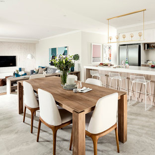 Inspiration for a contemporary dining room in Perth with beige walls.