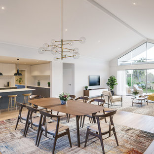 Design ideas for a contemporary open plan dining in Perth with light hardwood floors, brown floor, white walls and no fireplace.