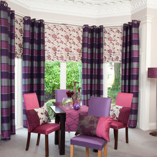 Inspiration for a mid-sized eclectic open plan dining in Other with purple walls, carpet and grey floor.