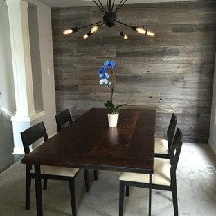 Esempio di una sala da pranzo classica chiusa e di medie dimensioni con pareti grigie, moquette, nessun camino e pavimento beige