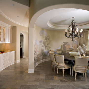 Oval Shaped Dining Room with Complex Arched Opening on Curved Wall