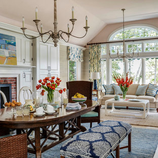 Great room - mid-sized transitional light wood floor and beige floor great room idea in Boston with beige walls, a standard fireplace and a brick fireplace