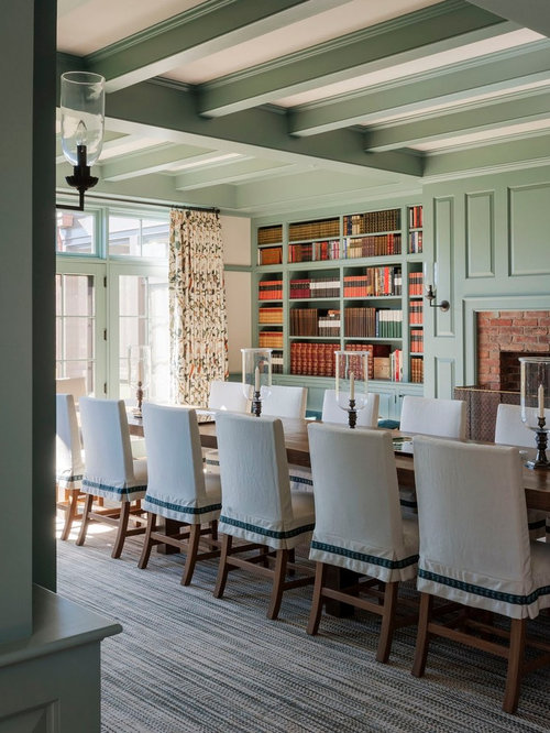 inspiration for a farmhouse carpeted enclosed dining room remodel in boston with green walls - Carpeted Dining Room