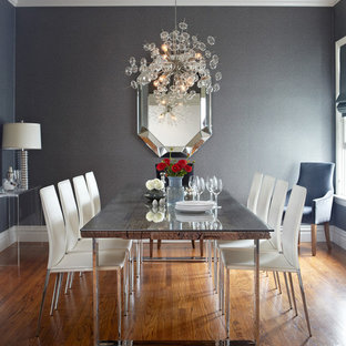 Inspiration for a contemporary dining room in San Francisco with grey walls and medium hardwood floors.