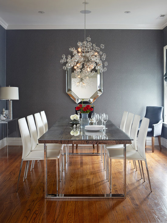 grey and white dining room | houzz