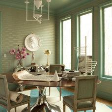 Transitional Dining Room by Benjamin Dhong Interiors