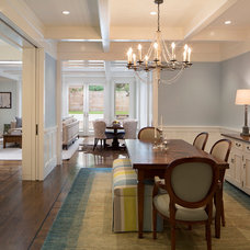 Transitional Dining Room by Verner Architects