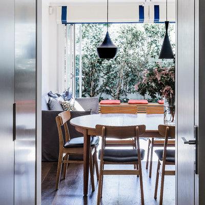 Example of a trendy dark wood floor dining room design in Sydney