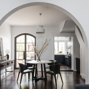 Inspiration for a transitional separate dining room in Sydney with white walls, dark hardwood floors and brown floor.