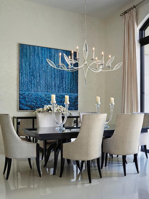 Modern Alabaster Chandelier Open Plan Dining Design Ideas