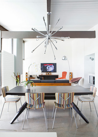 Midcentury Dining Room by Unit 7 Architecture Inc