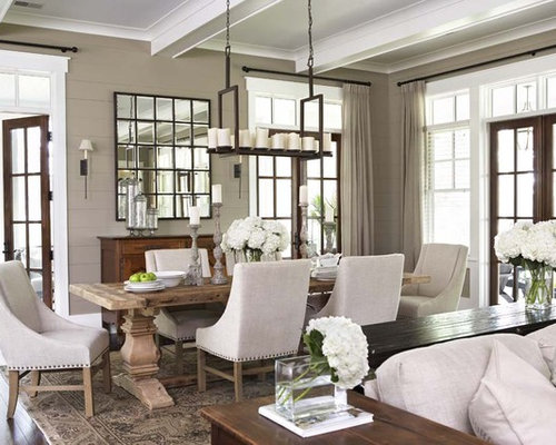 Large elegant dark wood floor great room photo in Charleston with brown  walls. Trestle Salvaged Wood Dining Table   Houzz
