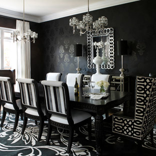 Mid-sized trendy dark wood floor dining room photo in Atlanta with black walls and no fireplace