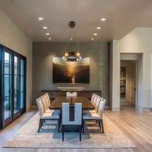 Kitchen/dining room combo - southwestern beige floor and light wood floor kitchen/dining room combo idea in Phoenix with beige walls