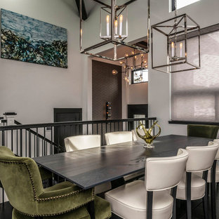 Marvelous Transitional Dark Wood Floor And Brown Floor Dining Room Photo In Denver  With Gray Walls