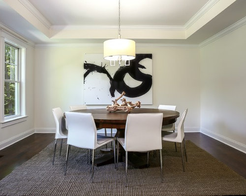 Example Of A Transitional Dark Wood Floor And Brown Floor Enclosed Dining  Room Design In New