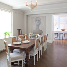 Transitional Dining Room by Wettling Architects