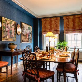 ニューヨークの中サイズのアジアンスタイルのおしゃれな独立型ダイニング (青い壁、無垢フローリング、暖炉なし) の写真