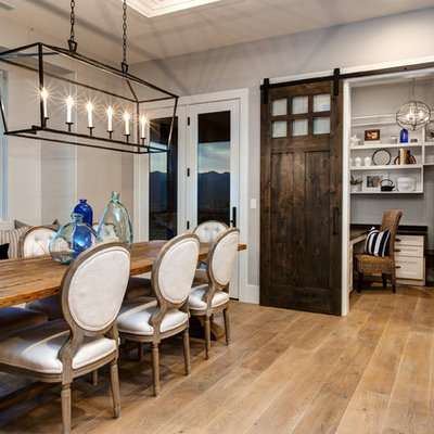 Example of a beach style light wood floor kitchen/dining room combo design in Salt Lake City with gray walls