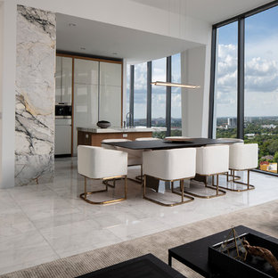 Great Room   Contemporary Gray Floor Great Room Idea In Miami With White  Walls
