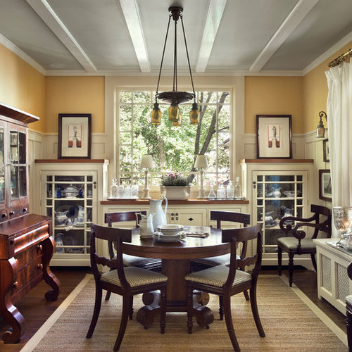 Example of a classic enclosed dining room design in New York with yellow  walls and darkPiano Dining Table   Houzz. Piano Dining Room Table. Home Design Ideas